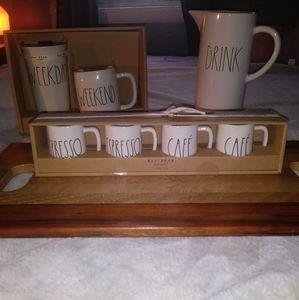 RAE Dunn NEW 4 Mini Espresso & Cafe Mugs Kitchen